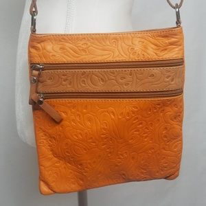 Made in Italy Handbag Embossed Genuine Leather